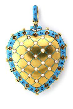 The other side...   CARLO GIULIANO Enamel Pearl Diamond Locket, England, late 19th Century