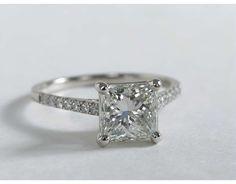 2.01 Carat  Princess-Cut Diamond Petite Cathedral Pavé Engagement Ring | Blue Nile Engagement Ring
