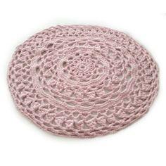 Rond Vloerkleed Crochet - Baby Roze 80cm