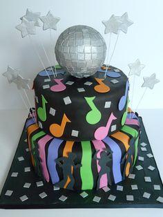 Disco cake 70s Party, Disco Party, Princess Birthday, 60th Birthday, Birthday Ideas, Bolo Neon, Sophia Cake, Disco Cake, Disco Theme