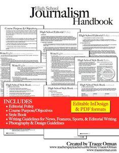 Journalism Handbook and Stylebook {Editable} Teaching Yearbook, Yearbook Class, Teaching Writing, Teaching English, Writing A Book, Writing Prompts, Yearbook Ideas, Teaching Tools, Teaching Ideas
