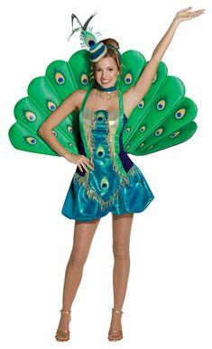 Déguisement paon femme : Ce déguisement de Paon pour femme se compose d'une robe, d'une queue en éventail, d'un serre-tête et d'un collier ras de cou ( Chaussures non incluses).La robe est...