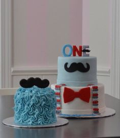 Bow tie and moustache cake, boys first birthday cake