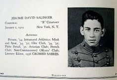 Seventeen-year-old J.D. Salinger's yearbook photo from Valley Forge Military Academy, 1936