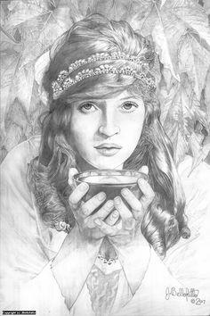 """Circe"" Artwork by Joseph Bellofatto 12x18, graphite pencil #mythology"