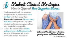 Nursing Student Clinical Strategies: Coping with Less than Supportive Nurses. Every nursing student will encounter at least one nurse throughout clinicals that isn't thrilled about having a student assignment. How do you cope with these situations? From the iStudentNurse Clinicals Section: www.iStudentNurse.com/Clinicals/