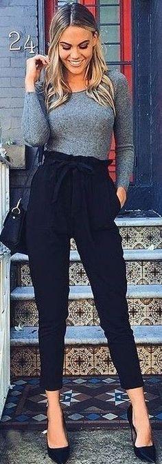 #Summer #Outfits / Grey Long Sleeves Top + Navy Blue Skinny Palazzo Pants