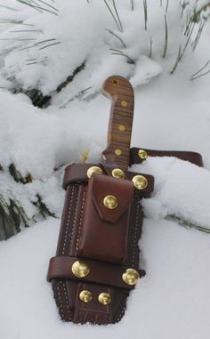 Hand-crafted Knife and Sheath by W.J.M. Knives (Only my second knife and sheath ever made!).  Knife blade is 1/4 inch thick 01 Tool Steel, Zebrawood Handle and 1/4 brass pins and lanyard tube.  Overall length is 9.75 inches, 4.75 inch blade.  Handcrafted leather sheath also by W.J.M. Knives.  Dark brown, with brass hardware.  Can be carried on belt loop, with dangler, or scout style.  Also has fire steel missing from photo.