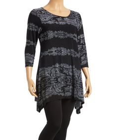 Look at this #zulilyfind! Black & Gray Abstract Sidetail Tunic - Plus #zulilyfinds