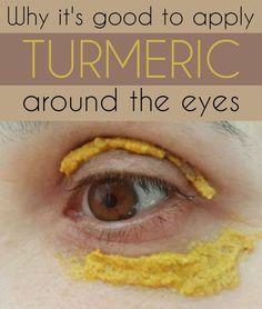 Why it's good to apply turmeric around the eyes - si usted quiere deshacerse de las ojeras, mezclar ½ cucharadita de jugo de limón con ¼ de cucharadita de cúrcuma, ¼ de cucharadita de harina y 1 cucharadita de jugo de tomate. Mezclar bien. Aplicar la pasta obtenida alrededor de los ojos y dejar actuar durante 10 minutos.