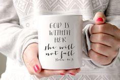Coffee Mug, Ceramic Mug, Quote Mug, Psalm 16:5 Mug, God Is within her, She will not fall, Bible Verse Mug, Scripture Mug, Christian Mug