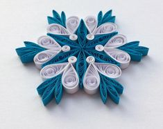 Quilled Snowflakes Paper Quilling Art Christmas Tree Decor Winter Hanging Ornaments Gifts Toppers Mandala Office Corporate Blue White