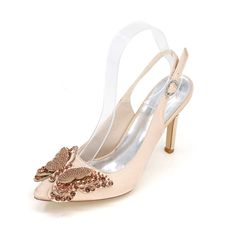 44.30$  Watch here - http://alijw1.worldwells.pw/go.php?t=32729529004 - Pointed toe slingback satin dress shoes with rhinestone butterfly charm sparking pumps for wedding prom cocktail lady heels  44.30$