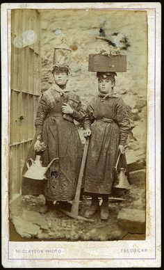 Female worker/s from the Tredegar ironworks in ragged clothing with protective headwear and tools, by W Clayton of Tredegar, Wales, 1865. | ... I saw this at the Jeremy Deller exhibition it is part of a series - they are very striking pictures