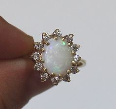 Opal Ring 14K Gold Vintage Gold Ring by DesignzByRuth on Etsy, $310.00