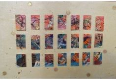 """""""Sunset  Squares"""" collage art  #repurposed, #upcycled, #wall art, #artfully reimagined"""
