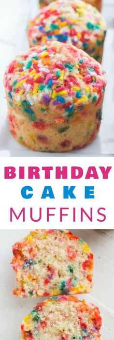 Fluffy BIRTHDAY CAKE Muffins with sprinkles that taste just like cake! This easy recipe is perfect for kids birthday parties, breakfast or dessert. These muffins are SO pretty and delicious - everyone loves them!