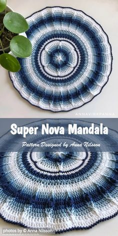 Crochet For Beginners Easy Super Nova Mandala Crochet Pattern Idea Crochet Mandala Pattern, Crochet Circles, Crochet Round, Afghan Crochet Patterns, Crochet Squares, Crochet Doilies, Easy Crochet Blanket, Crochet For Beginners Blanket, Crochet Blankets