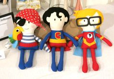 Fabric superheros dolls - bambole di pezza supereroi by The Sewing Me