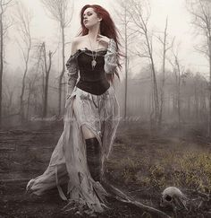 woman forest model Gothic dress