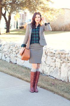 Striped skirt, plaid button-up, grey blazer, brown riding boots