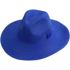 Royal Blue Woven Straw Pinch Top Floppy Panama Hat (£19) ❤ liked on Polyvore featuring accessories, hats, blue, floppy, fedora hat, floppy fedora hat, floppy straw hat, summer hats and straw hat