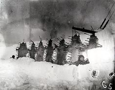 Drying skins on a snow wall, Cape Fullerton, Hudson Bay, Canadian Arctic, March 25, 1901