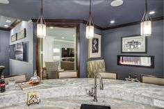 Love this color!  Wall paint: Web Gray, Sherwin-Williams. Room by Eric Ross Interiors, LLC