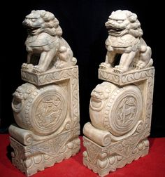 "40"" Chinese Antique Marble Foo Dog / Kilin Statue Pair"