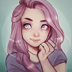 Cute pink hair girl