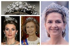 The Spanish Floral Tiara. This diamond floral tiara, made by J.P Collins ca 1879.  Owned by the Leuchtenberg family, son of the Empress Joséphine. Was purchased in 1962 by then-head of state Francisco Franco. He gave it to Queen Sofia as a wedding gift on behalf of the Spanish people.