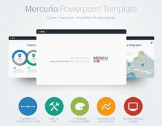 Mercurio is a clean, versatile, scalable and multipurpose PowerPoint Template to present your business to potentials clients in a elegant way, Mercurio has +90 slides of content (portfolios, general information, handmade infographics, data charts, section…