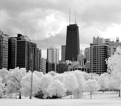 View of the Hancock Building - Fine Art Infrared Photograph Chicago City, Chicago Illinois, Chicago Bears, Chicago Winter, Chicago Photography, My Kind Of Town, Famous Places, Willis Tower, Vacation Spots