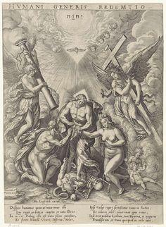 Hieronymus Wierix | Allegorie op de verlossing van de mensheid, Hieronymus Wierix, 1563 - before 1573 | Christus vertrapt de duivel en de Dood en verlost Adam en Eva van diens ketenen. Boven hen de duif van de Heilige Geest en het tetragram als symbool van God de Vader. Aan weerszijden een engel met passiewerktuigen. In de marge een achtregelig onderschrift, in twee kolommen, in het Latijn.
