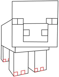 How to Draw Pig From Minecraft with Easy Step by Step Drawing Tutorial STEP 8