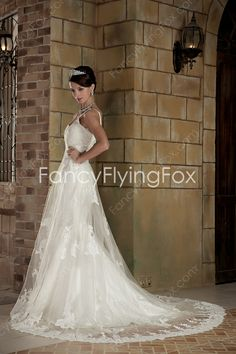 Retro Straps V-neckline Trumpet Mermaid Wedding Dresses With Lace Appliques  $209.00