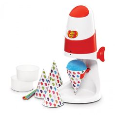Make fun and delicious snow cones at home with the official Jelly Belly Electric Snow Cone Maker. All the great flavour of Jelly Belly jelly beans in a cool and refreshing snow cone!   Motorized ice shaver makes it quick and easy to create shaved ice, just add a few squirts of Jelly Belly flavour syrup and you have a great carnival treat in your own kitchen!