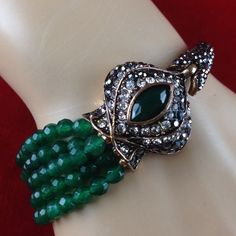 I'm auctioning 'Vintage Rhinestone Marcasite Green Beaded Cuff Bracelet' on #tophatter