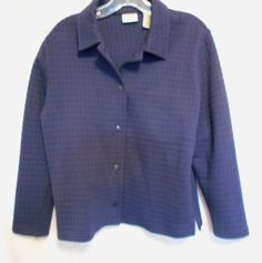 Classic Elements Petite Size Small Navy Quilted Jacket Sq. Button Front Collar  #ClassicElements #QuiltedBasicJacket