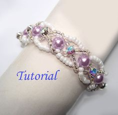 Beading Tutorial - Beaded Infinity Entwined Bracelet and Ring Set Patterns Woven Bracelets, Seed Bead Bracelets, Seed Beads, Bracelet Charms, Silver Bracelets, Beaded Jewelry Patterns, Bracelet Patterns, Bracelet Making, Jewelry Making