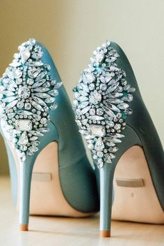 Blue wedding shoes f