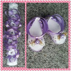 Baby ribbon sandals and headband crown made by me! :)