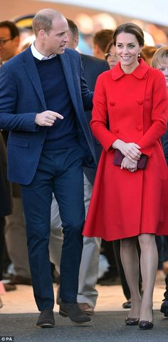 Again with the RED! WOW!! The day started in Whitehorse, where the royal couple visited a museum and posted a tweet by telegram