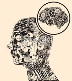 Thinking at the missing part. Gears mind. Lizenzfreie Vektorillustrationen