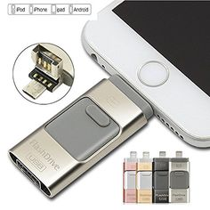 128 GB New USB iFlash Drive Device Memory Stick OTG For iPhone iPod IOS Android silver >>> You can get additional details at the image link.