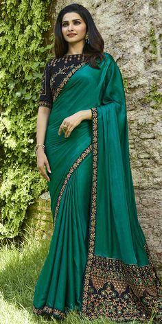 05dcc6e411e Prachi Desai Teal Green Silk Saree. Bottle Green Saree