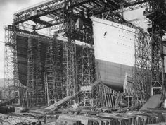 The Titanic (left) and the Olympic (right) are shown here under construction in Harland and Wolff's shipyard, Belfast, Northern Ireland, sometime between 1909 and 1911. The White Star Line's Olympic-class ships, of which Titanic was the largest, boasted unparalleled size and luxury.