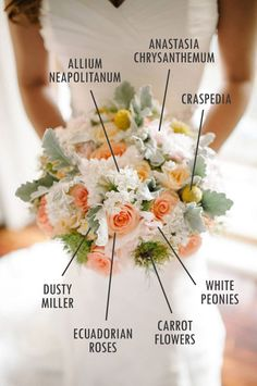 Peach and white wedding flowers with dusty miller, peonies and craspedia // Floral Bouquet Recipes by Theme #bohemianpretty