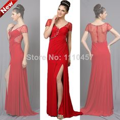 2014 Choiyes Slim V-Neck Short Sleeveless Knitting Beading Long Straight Evening Dress