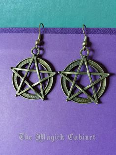 Bronze Pentacle Earrings, Pagan Witch Wicca, Pagan Earrings, Cool Earrings, Pentagram, Witchery, Witch Earrings, Wicca Symbol, Protection